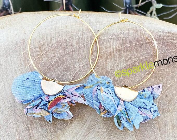 Floral Puff Hoop Earrings - light blue