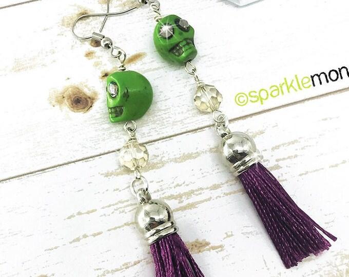 Lucky Last! Green Skull Long Tassel Earrings - crystal beads, lime green, and purple tassel