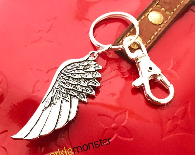SALE Just Winging It large silver keychain