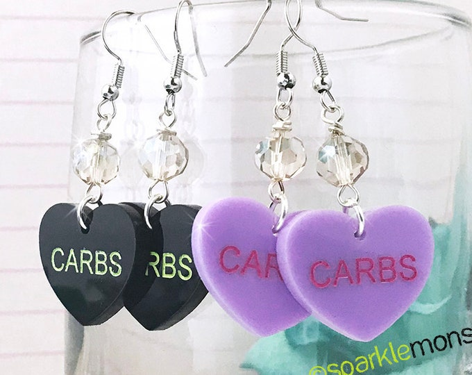 CARBS - conversation heart dangle earrings with crystals, purple, black, hand painted, laser cut acrylic, Valentines Day, candy, funny
