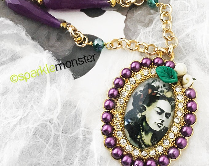 SALE Frida Couture necklace - skull beads, faux pearls, gold frame, hand beaded, crystal beads, Frida Kahlo
