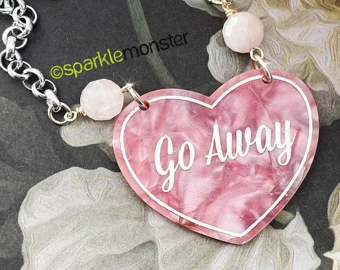 Go Away - pink pearl necklace, Rose Quartz