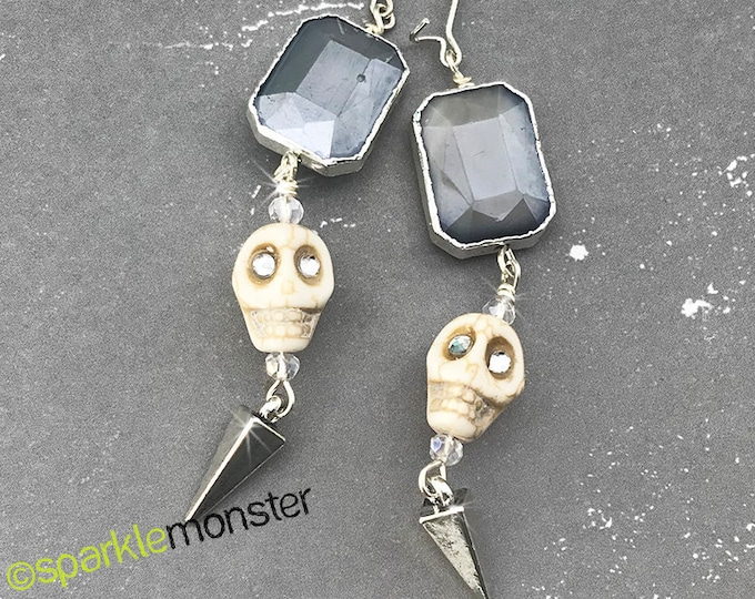 Lucky Last! Skull and Crystal Long Spike Earrings - white skulls, gray crystals, glam, goth prom, chic