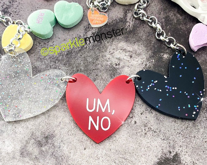 UM, NO - 1 of 1 necklace, iridescent glitter, black, and red hearts