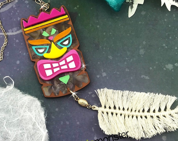 Large Colorful Tiki necklace, laser cut acrylic, long chain, retro, mid century modern, kitschy, pin up