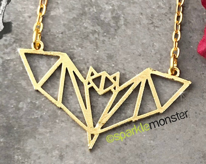 Geometric Bat - charm necklace, mattem gold, pendant, vampire, trendy, Halloween, chic