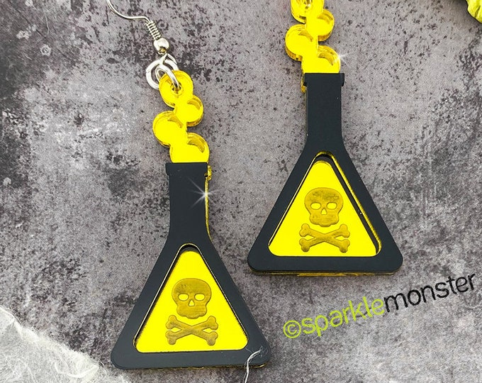 Proceed With Caution - laser cut acrylic earrings, poison bottle charms, science, horror, skull and crossbones, yellow, black