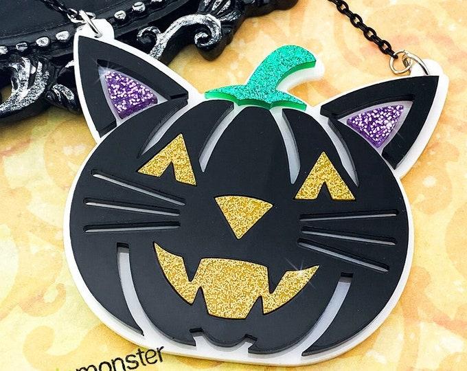Pumpkin Cat - laser cut acrylic necklace, black