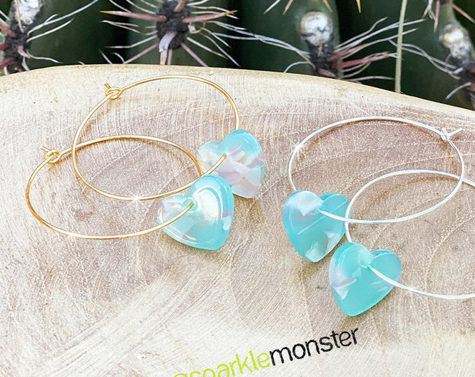 Small Resin Heart Hoop Earrings - ocean blue