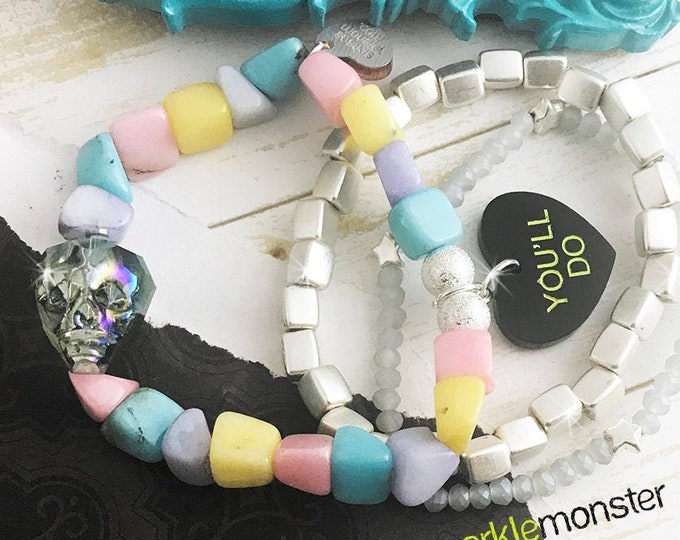 Lucky Last! YOU'LL DO bracelet stack, w/ crystal skull, pastel, white, silver accents, layering set, arm candy, funny, anti Valentine