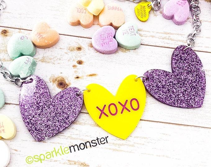 XOXO - 1 of 1 necklace, purple glitter, yellow hearts