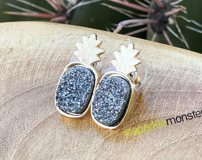 Gunmetal Druzy Pineapple stud earrings