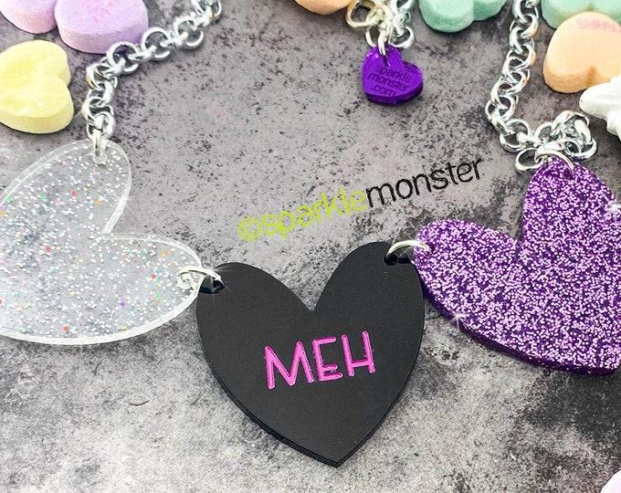 MEH - 1 of 1 necklace, iridescent, black, purple glitter hearts