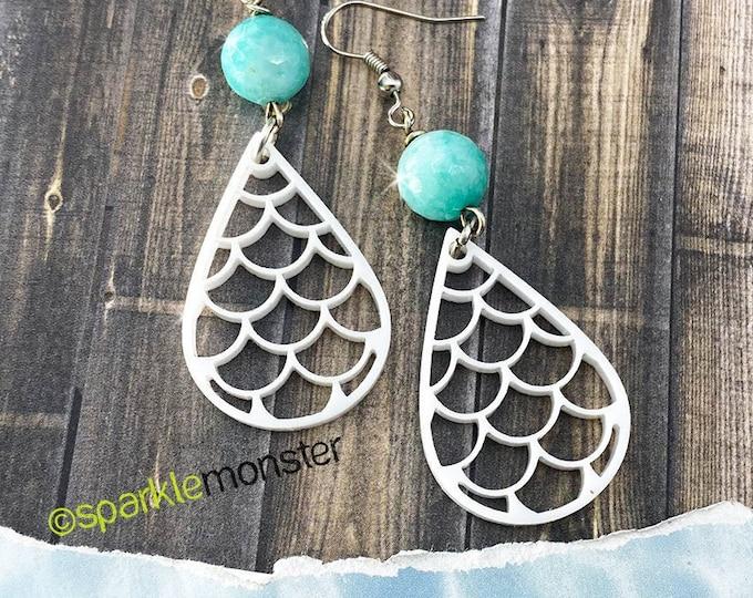 Mermaid Tears - blue stone dangle earrings, laser cut acrylic, charms, teardrop, lightweight