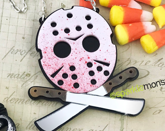 Horror Hockey Mask - Large necklace, laser cut acrylic, machete, knives, bloody, kitsch