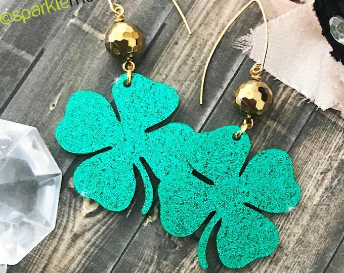 Glitter Clover dangle earrings with gold beads, Saint Patricks day statement earrings, green, laser cut acrylic, St Patties, Irish, 4 leaf