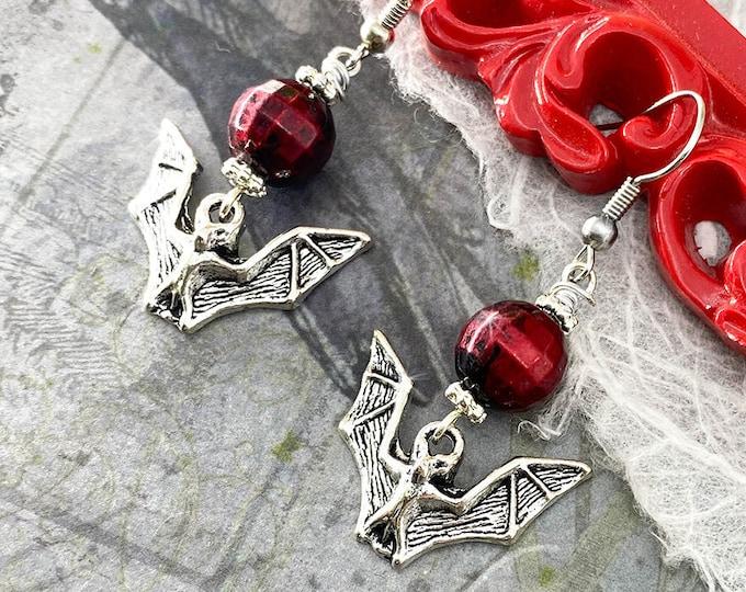 Gothic Bat Earrings - silver dangle earrings, red grunge bead, vampire, Halloween