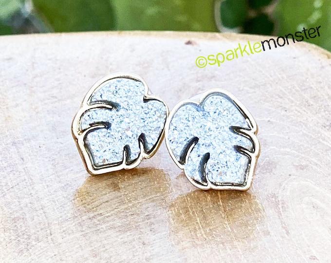 LUCKY LAST! Silver Druzy Monstera Leaves stud earrings
