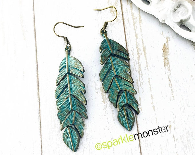 Verdigris Free Bird - movable feathers, dangle earrings, alloy charms, boho chic