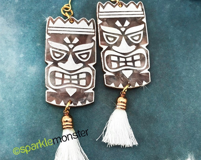 Large Tiki dangle earrings, laser cut acrylic, retro, mid century modern, kitschy, pin up, white, brown