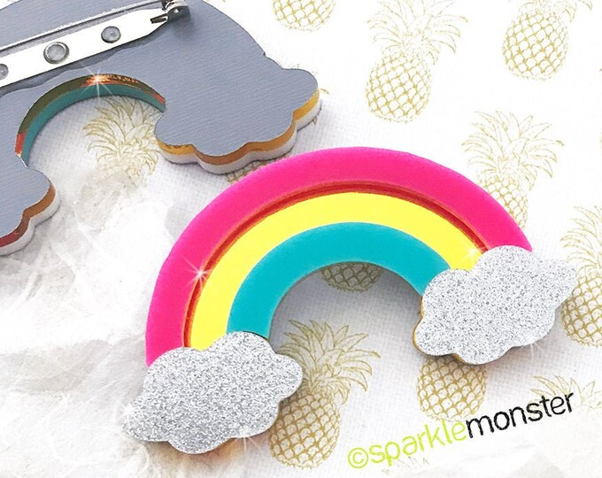 Bright Rainbow Brooch, laser cut acrylic, pink, yellow, turquoise, glitter clouds, kitsch, kawaii