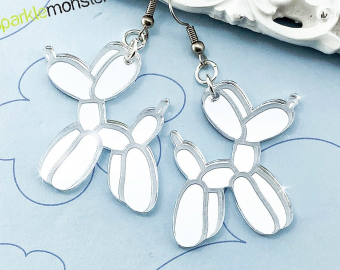 Balloon Dog Earrings silver mirror laser cut acrylic
