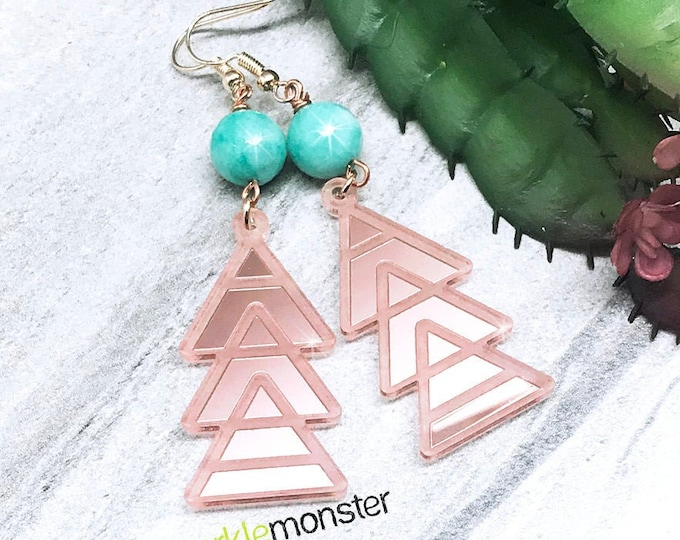 Geometric Earrings with turquoise stone beads, rose gold, laser cut acrylic, charms, bohemian, festival, jewelry