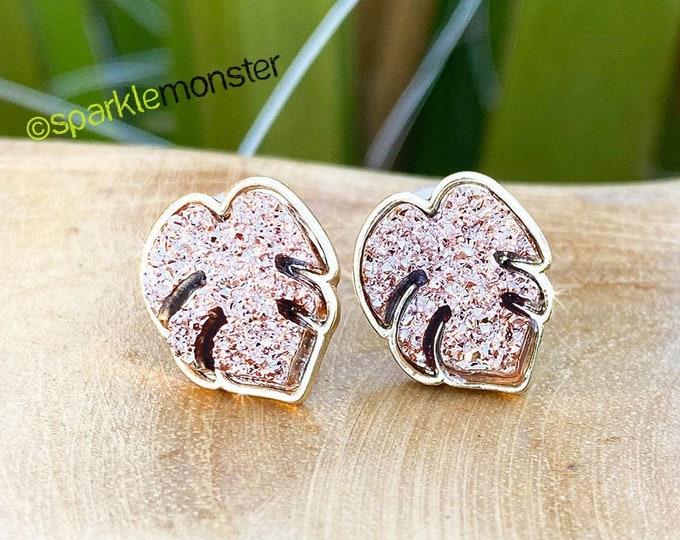 LUCKY LAST! Rose Gold Druzy Monstera Leaves - stud earrings