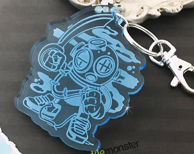 Diver Dude - large laser cut acrylic key chain, light blue, diving helmet, cartoon, guy gift, laser engraved