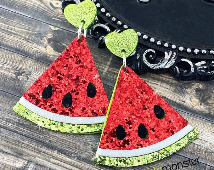 Sparkling Watermelons - felt and glitter earrings, laser cut acrylic hearts, charms, pinup girl, summer fashion, fruit, red, slice, green