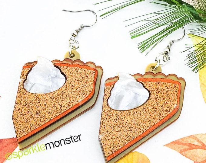 Slice of Pumpkin Heaven - laser cut acrylic earrings, orange glitter, Thanksgiving, kitsch, pumpkin pie, foodie