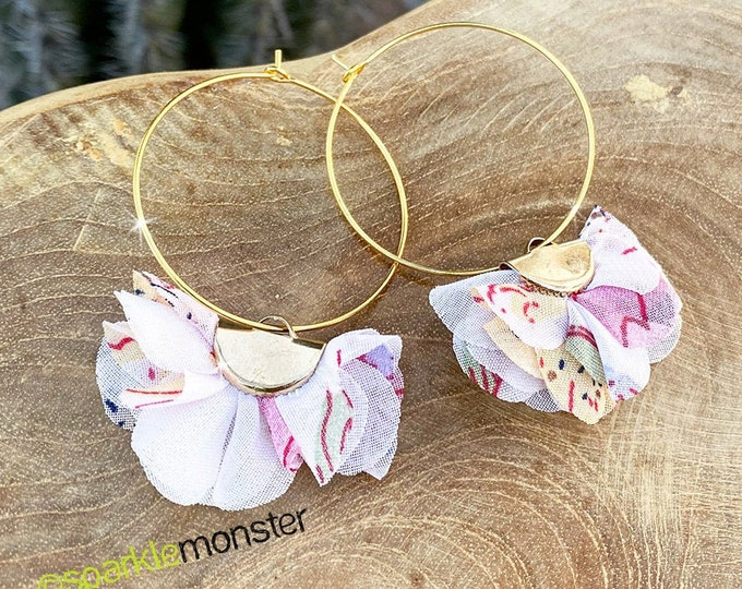 Floral Puff Hoop Earrings - light pink and white