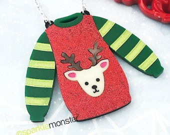 LUCKY LAST! Reindeer Sweater Necklace - Large laser cut acrylic pendant, red glitter, holiday, cute, ugly sweater party