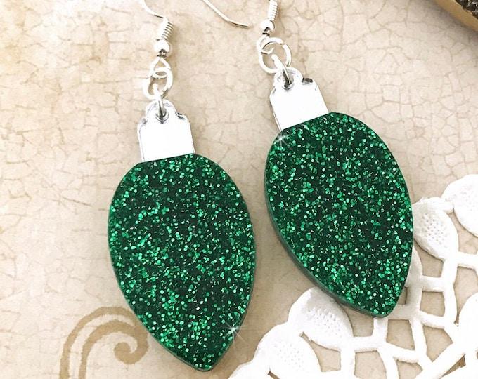 Christmas Light earrings, green glitter, laser cut acrylic, charms, vintage style, light bulbs