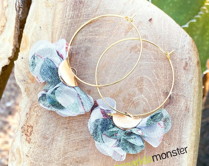Floral Puff Hoop Earrings - light green and white