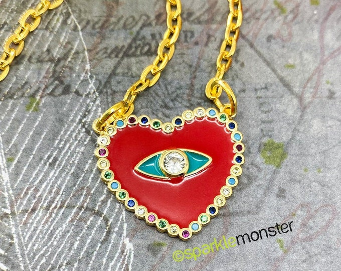Evil Eye, Red Heart Medallion - multi color rhinestones, gold layering necklace, eye charm, bohemian, hippie, protection, crystals
