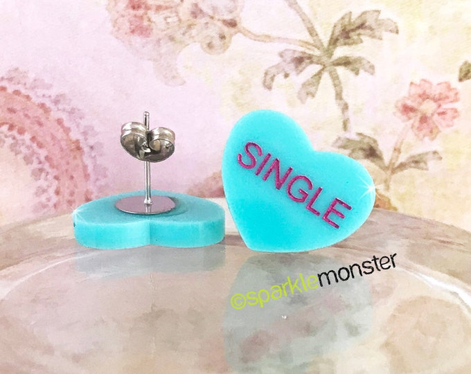 SINGLE - conversation heart stud earrings, turquoise, post, hand painted, pastel, laser cut acrylic, Valentines Day, candy heart, cute
