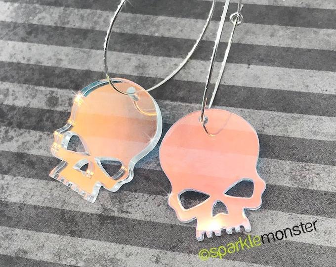 Iridescent Skull Hoops - hoop earrings, laser cut acrylic, holo, medium silver hoops, pastel goth, festival, rave