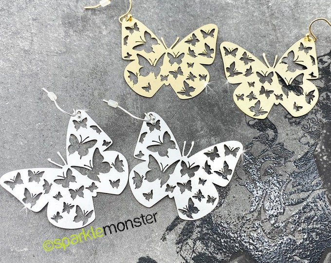 Butterfly Blessings - metal earrings