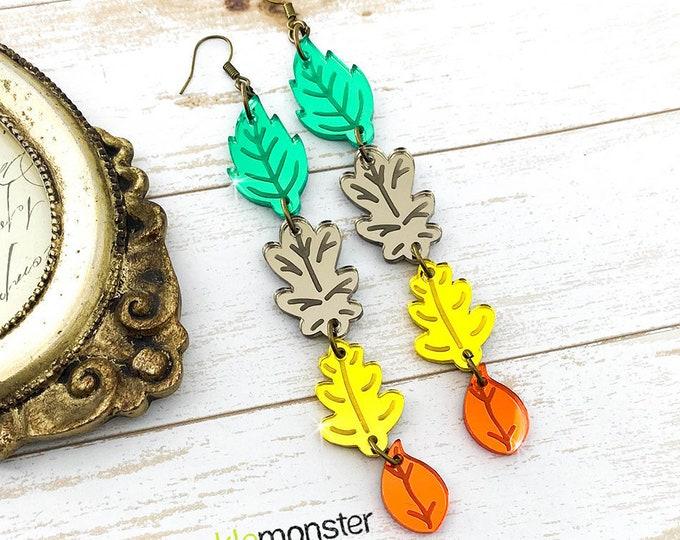 Fall Leaves - dangle earrings, laser cut acrylic, charms, autumn, pumpkin spice season