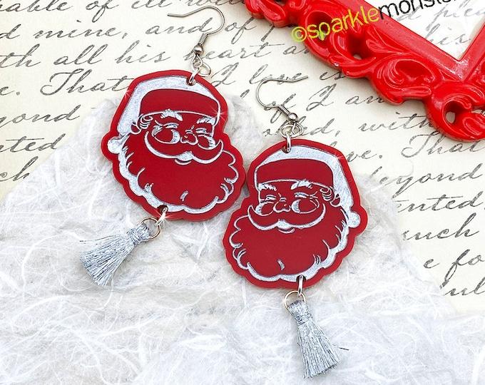 Large Classic Santa Dangle Earrings with festive tinsel, laser cut acrylic, retro, mid century modern, kitschy