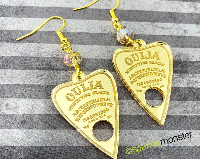 Gold Planchettes - Ouija earrings, laser cut acrylic, charms, genuine crystals, witchcraft, goth