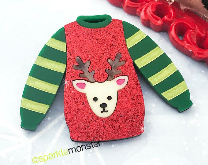 Reindeer Sweater - large brooch, laser cut acrylic, red glitter, holiday, cute, ugly sweater party
