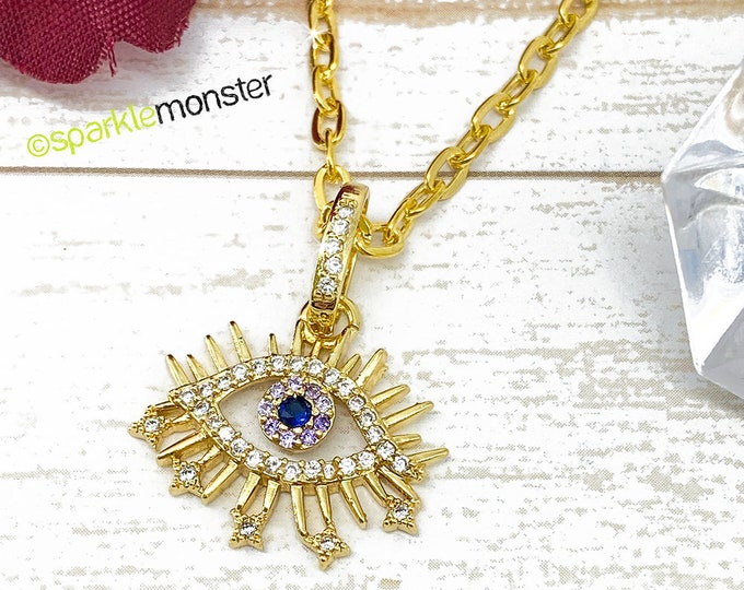 See No Evil - rhinestone encrusted gold layering necklace, evil eye charm, bohemian, hippie, blue