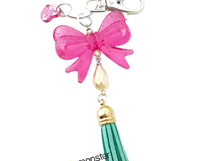 SALE Cutie Pink Bow and Tassel large silver keychain
