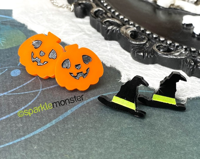 Halloween set - Witches Hat and Jack-o-Lantern stud earrings, post, hand painted, laser cut acrylic