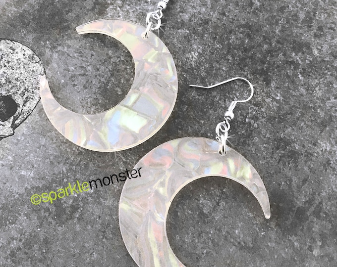 Pearl Moon Earrings, laser cut acrylic, charms, mother of pearl, goth, witchy