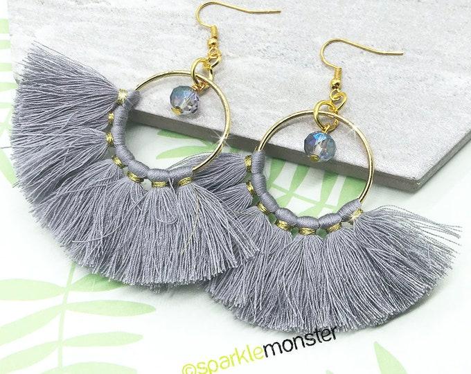 Gray Tassel Hoop Earrings with crystals - fan shape, gold, festival, summer, vacation, boho