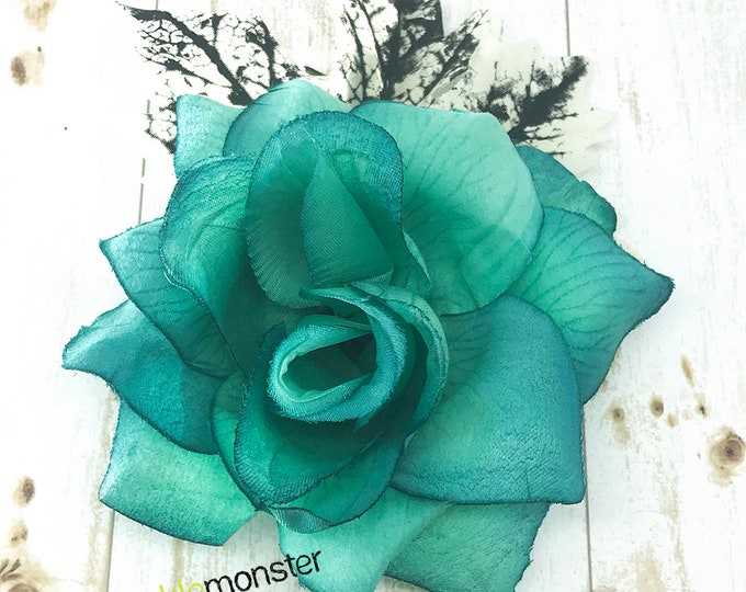 Cold Hearted - LARGE hair flower, teal blue rose, hair clip, winter, black and white leaves, gothic