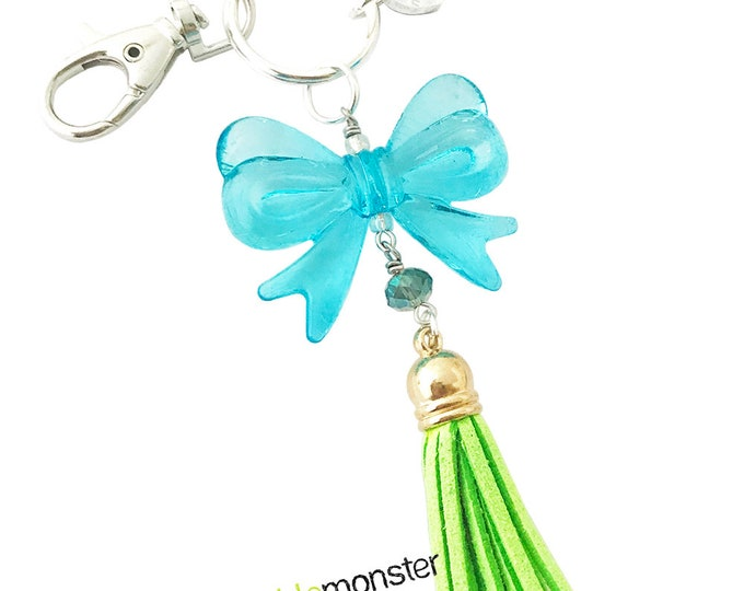 SALE Bold Blue Bow and Tassel large silver keychain